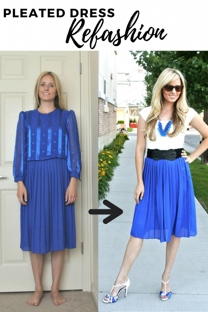Take an old dress with a pleated skirt, and easily refashion it into a pleated skirt.  Great way to update an older piece!