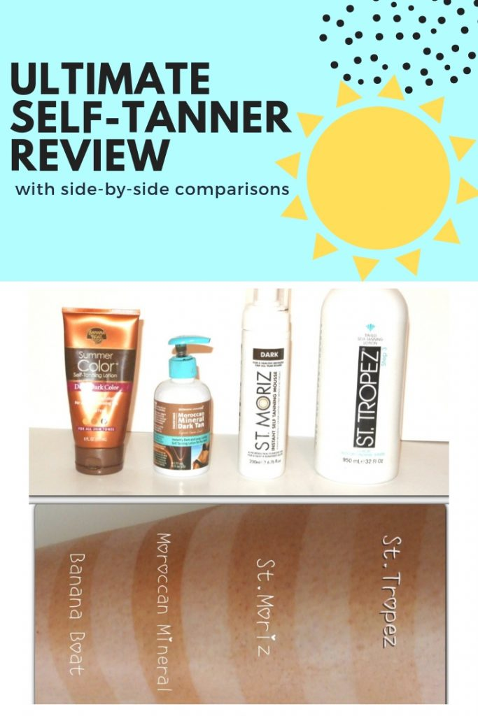 This girl compares 4 leading self-tanners side-by-side on one leg so you can see exactly how they compare.  Genius!  So glad she did this so I don't have to. #selftanner #selftannerreview
