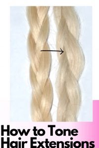 How to tone hair extensions gently and quickly. Anyone can do this at home to eliminate the brassy hues that often come with blonde hair extensions.