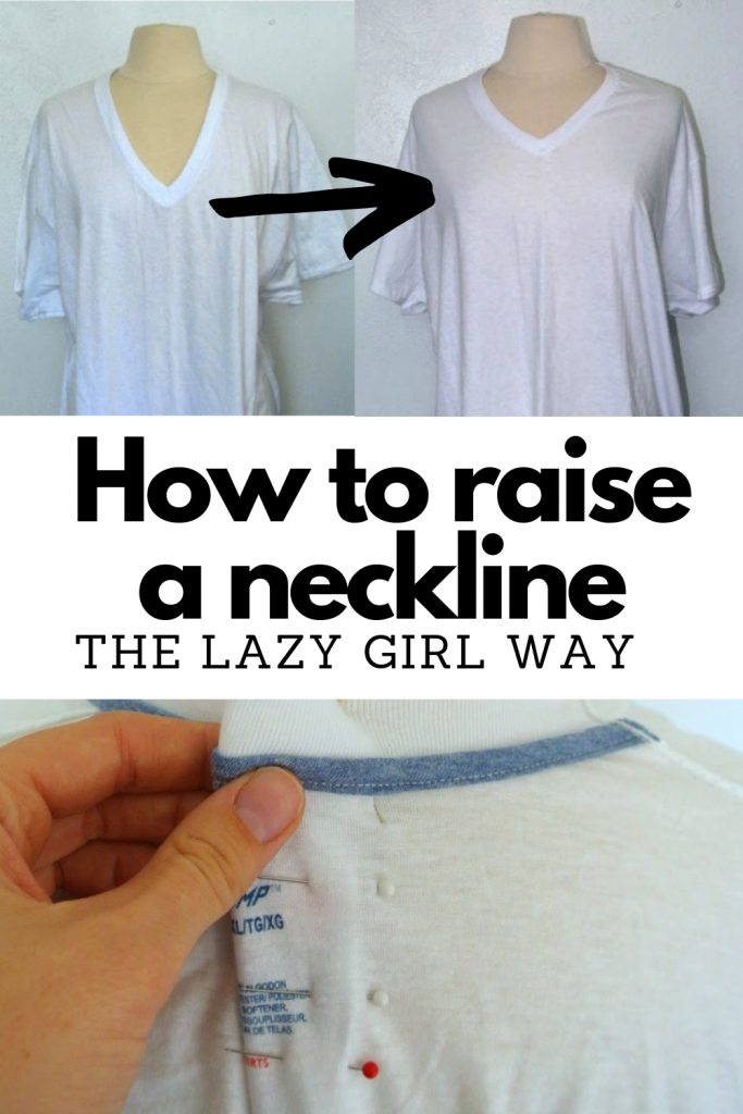 Sewing Tutorial: How to Make a Neckline Higher featured by top US sewing blogger, Kara Metta | How to raise a neckline, the easiest/laziest way possible.