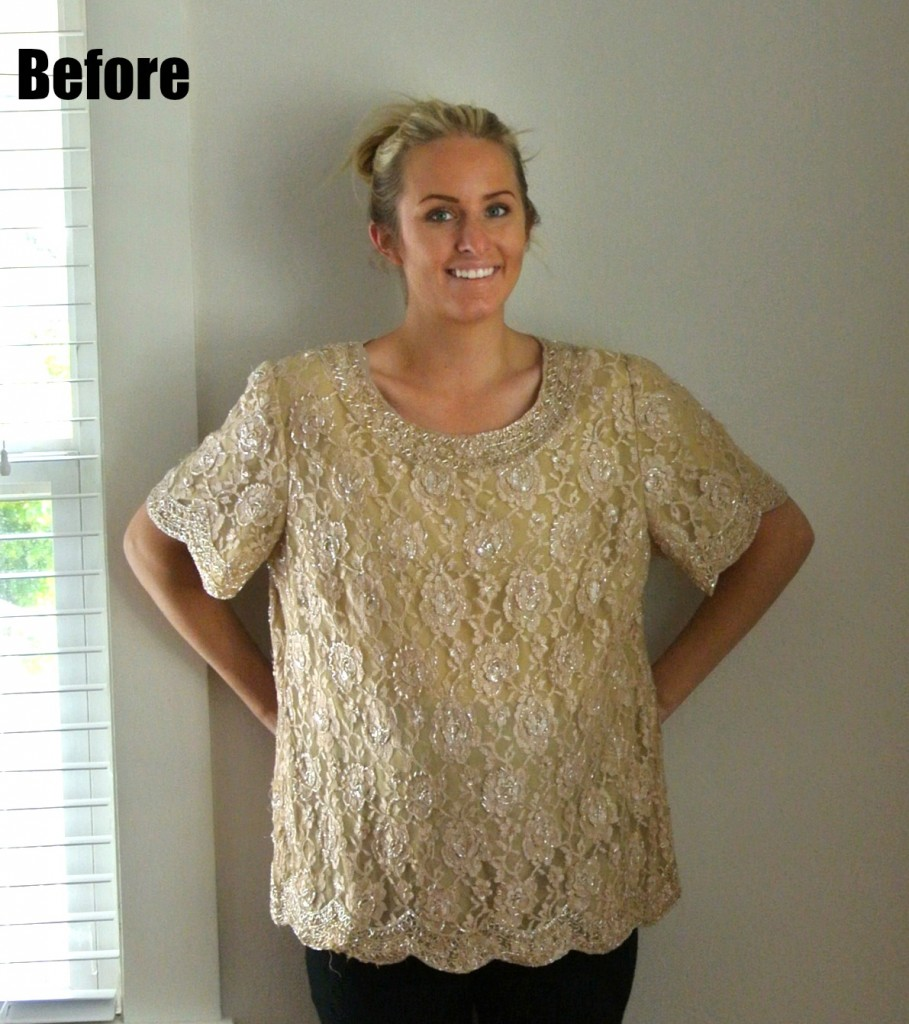 This is what the top looked like before it was refashioned into the dress bodice.