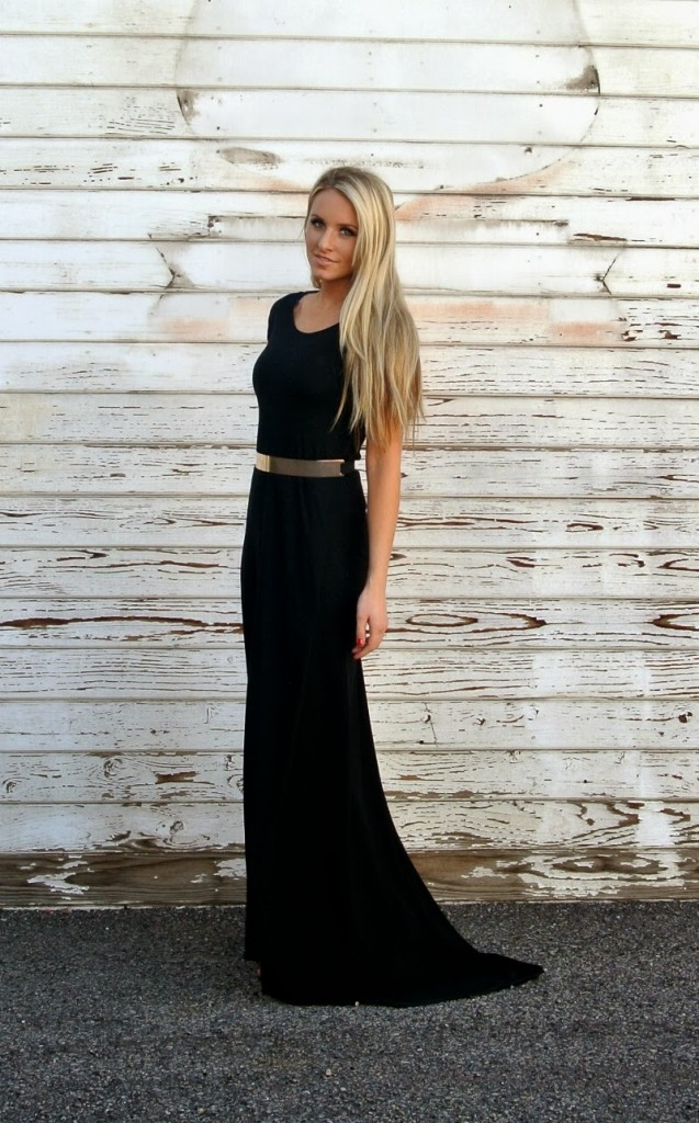 Black formal dress.  The girl made this is less than 2 hours.