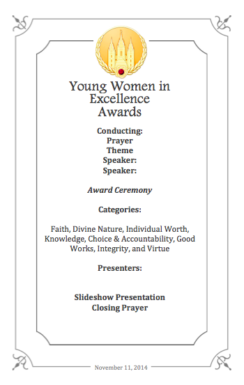 Young Women's in excellence red carpet theme program | Young Women in Excellence Program by popular Utah lifestyle blogger, Kara Metta: image of a Young Women in Excellence program printable.