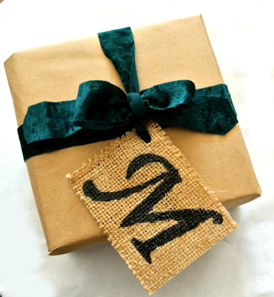 Use modge podge, paint, and burlap to create gift tags