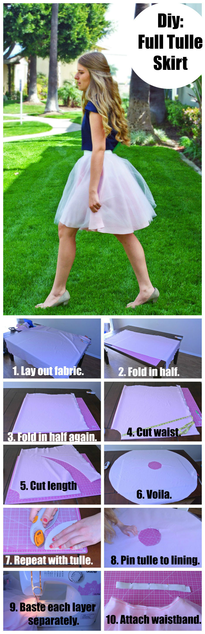 DIY Tulle Skirt Tutorial featured by top US sewing blogger, Kara Metta. | How to make a tulle skirt. This blog has pictorials for the math part and the sewing part, so it makes it super easy // While Camden Sleeps.