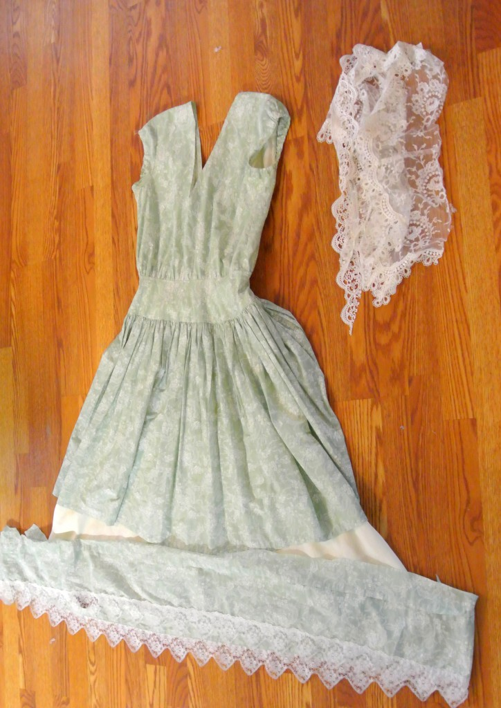 Steps during a dress refashion