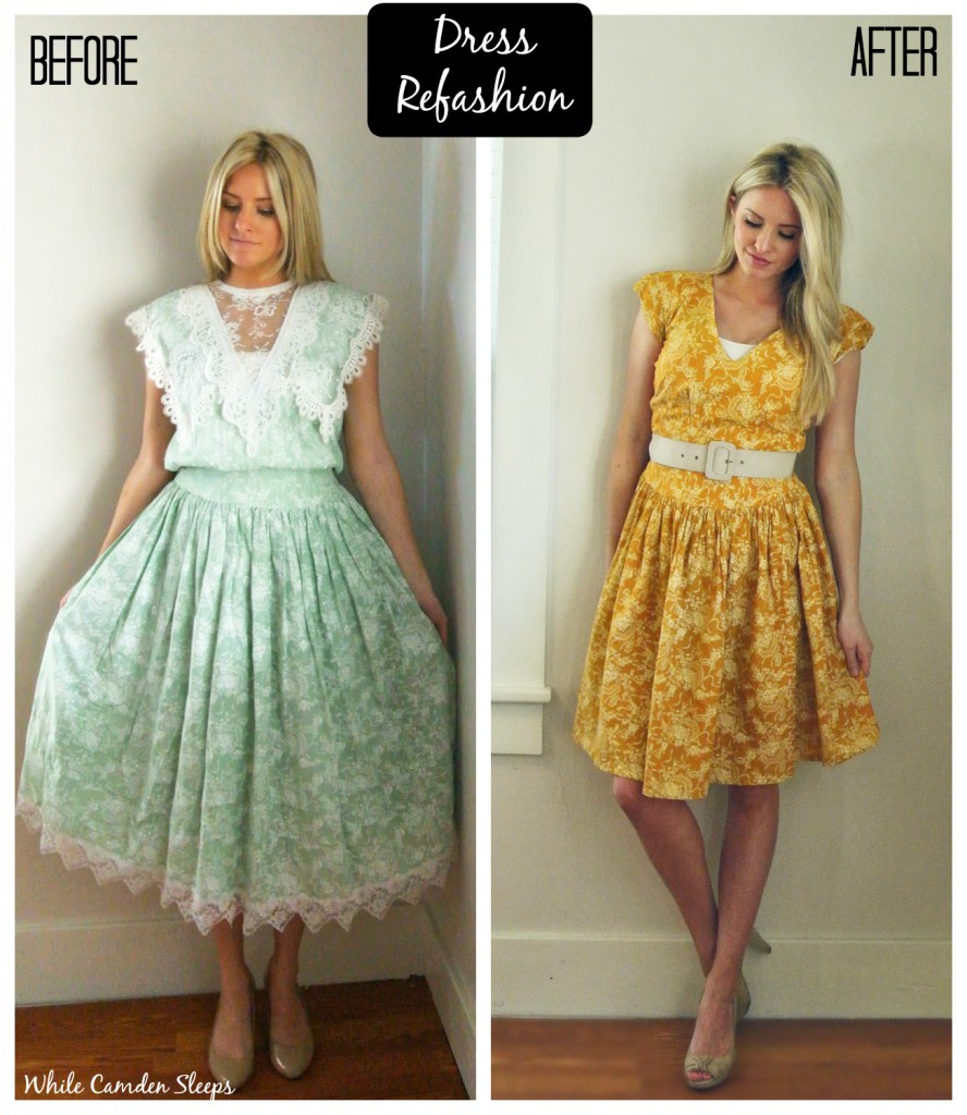Dress refashion.  She dyed the dress, then altered it.  Great refashions on this blog.