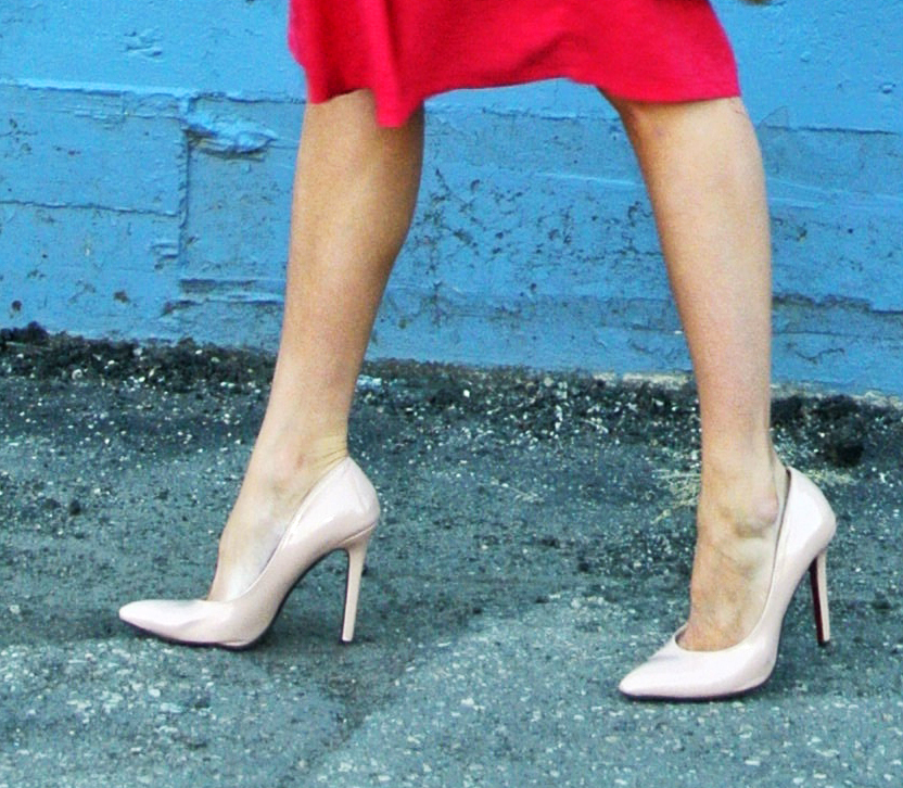 Nude heels elongate the leg because there is no color separation between shoe and skin.