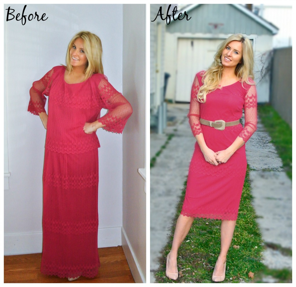 Before and after dress refashion by While Camden Sleeps