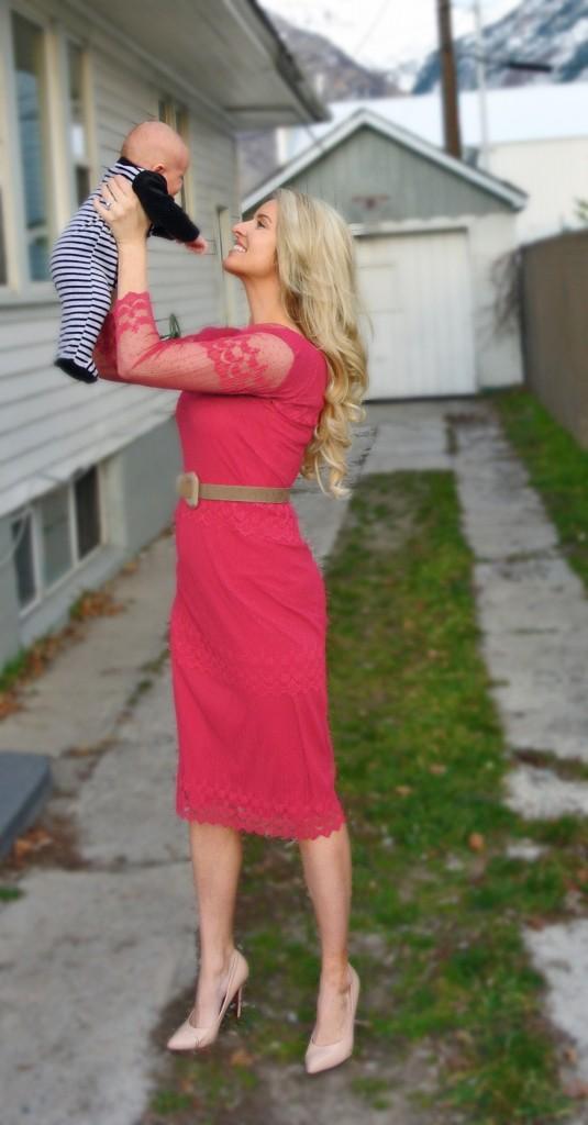 While Camden Sleeps pink dress refashion