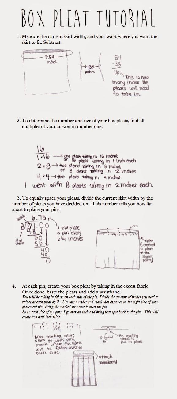 Box pleat skirt tutorial