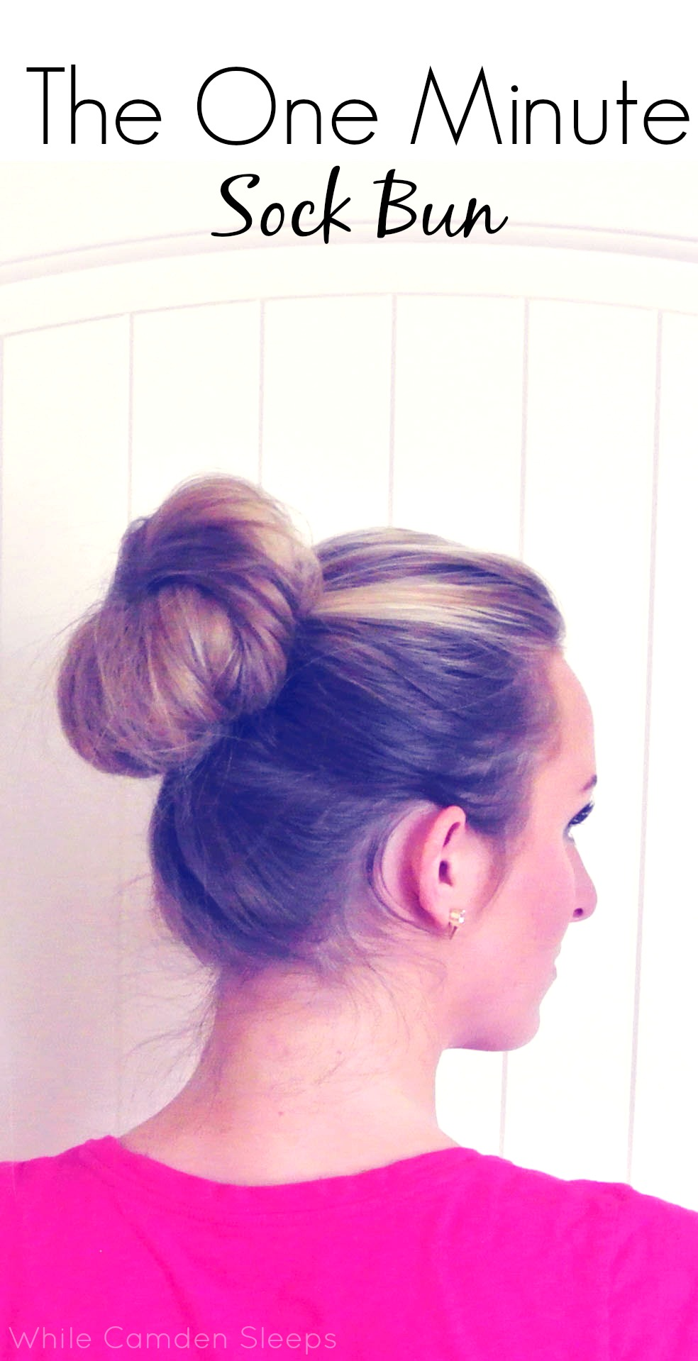 This sock bun literally takes less than a minute to do once the ponytail is done.  It saves me on mornings when I'm running late, yet still looks polished.  The tutorial video is only a minute and a half and she doesn't speed any of it up.