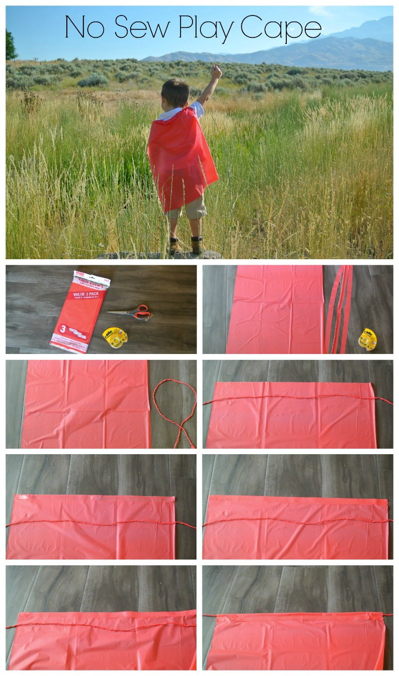 1. Gather supplies  2. Cut cape piece and three strips to create tie.  3. Braid strips to form a strong tie.  4. Make sure tie is longer than cape width.  5. Place Scotch® Brand double-sided tape on the top of cape.  6. Fold over tape to create a hem. (In a similar manner as using real hem tape when sewing.)  7.  Repeat steps 5 and 6 to make the casing, being sure to go over the tie without accidentally getting tape on it.  Done! #shop #projectamazing #cbias