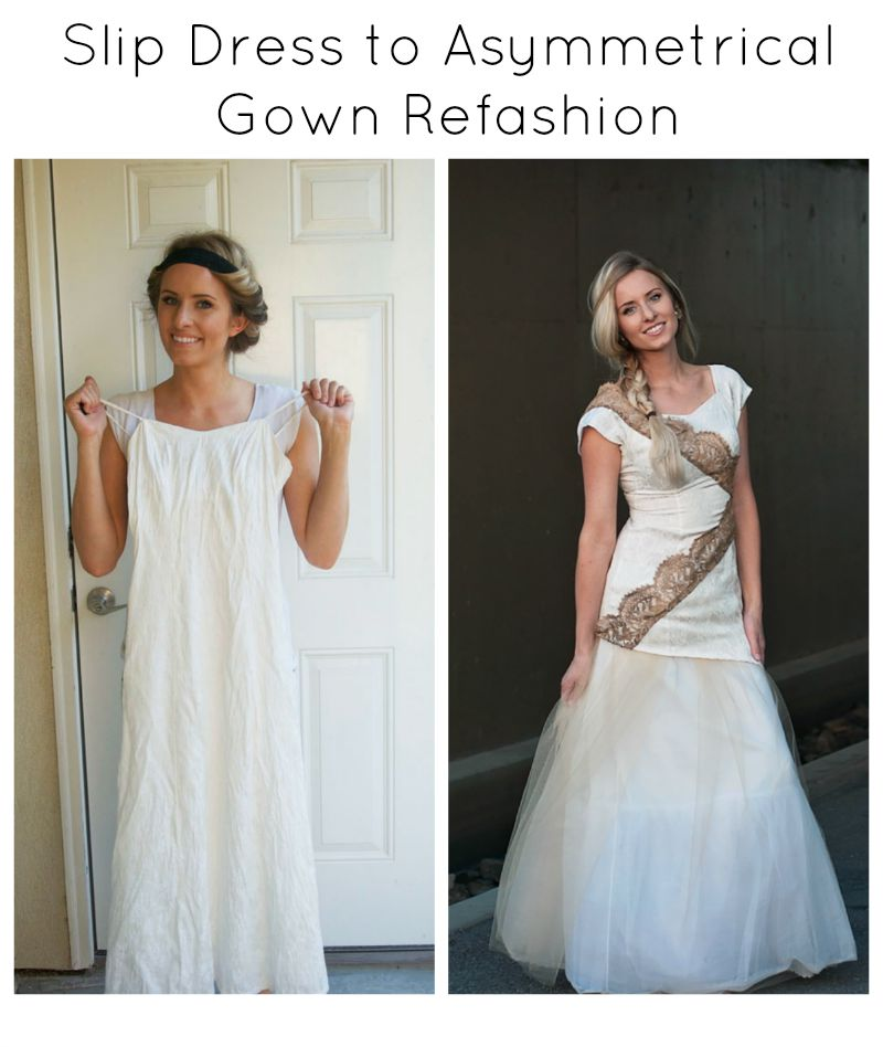 Asymmetrical dress refashion.  What a great way to save money on formal dresses!