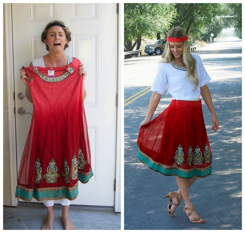 Boho Chic Refashion .  This girl created two outfits using a damaged dress and a used bathrobe.  Amazing!