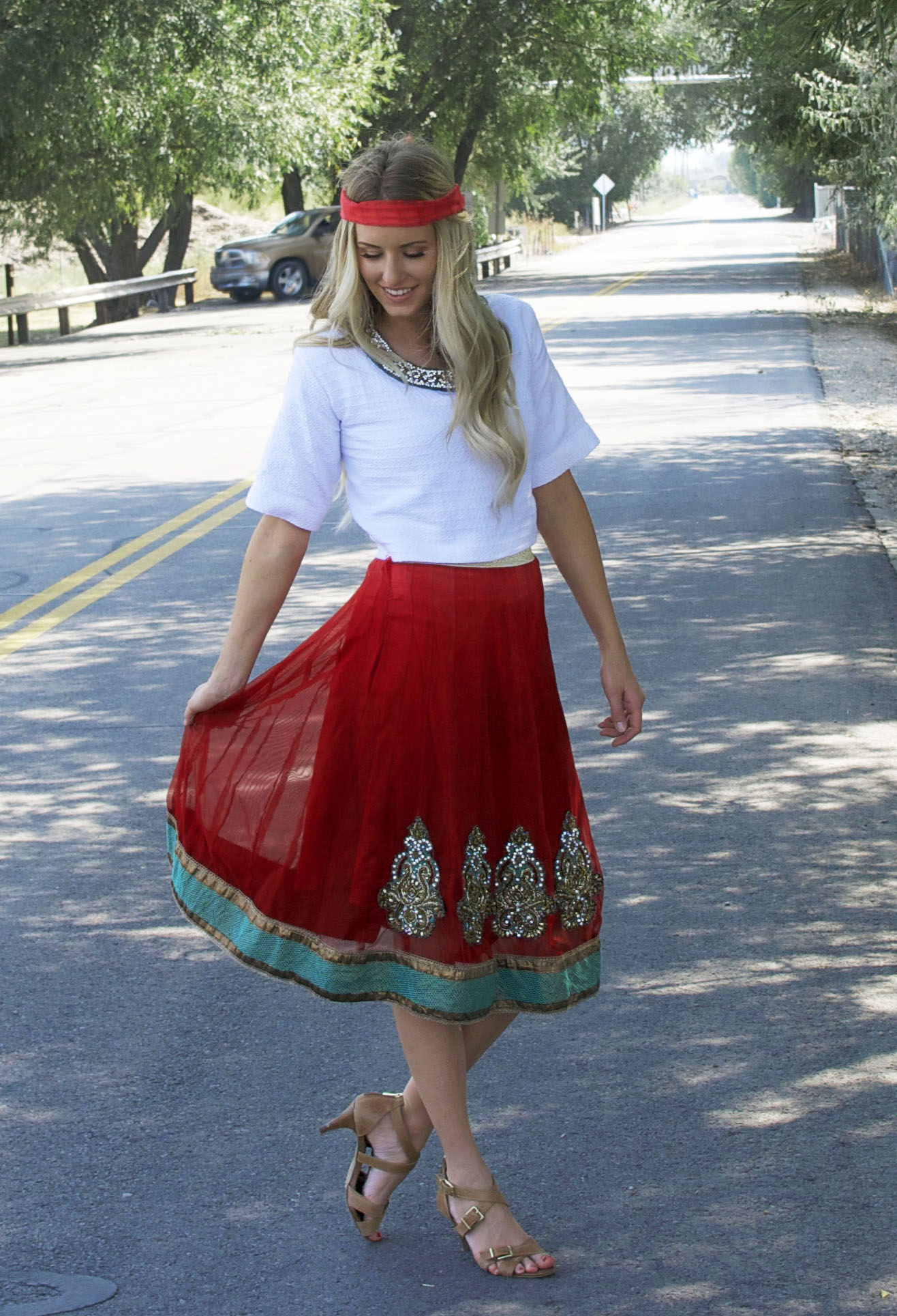 Boho chic.  This girl made her outfit from two other pieces.  She has a great refashion/sewing blog.  Check it out!
