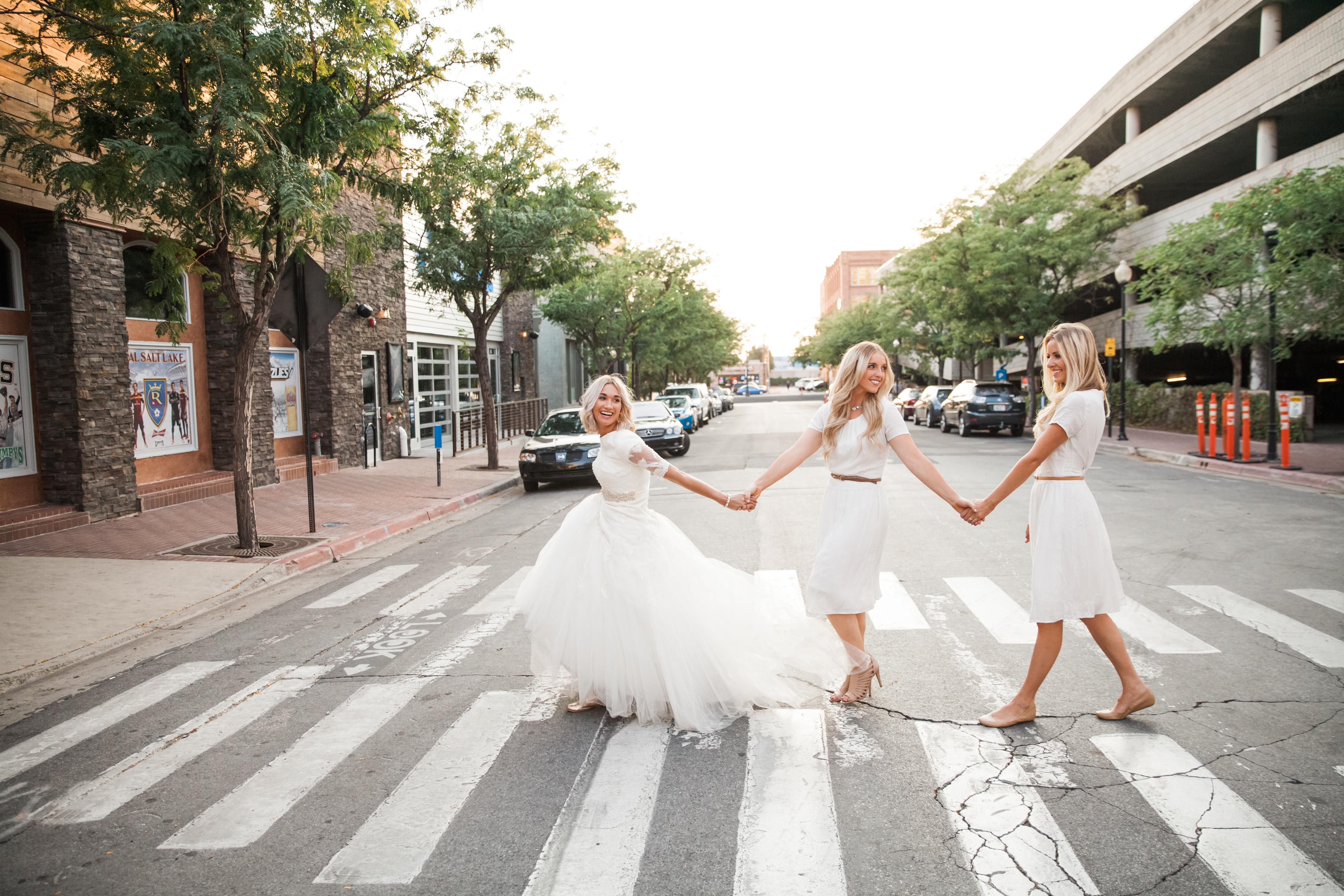 White bridesmaid dresses. Love it!
