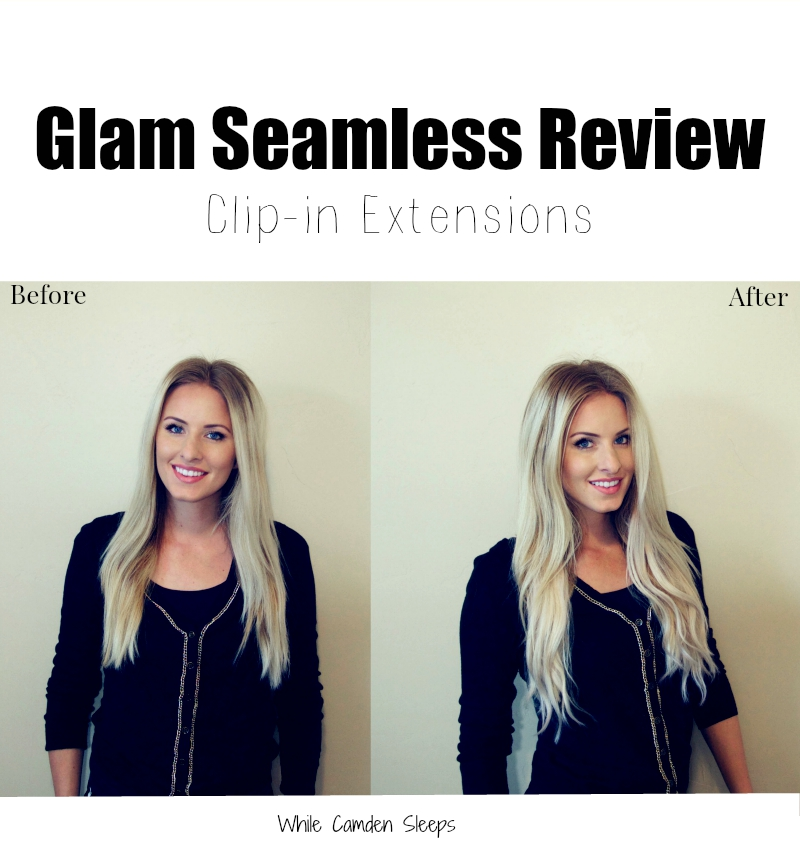 Glam Seamless Clip-in Hair Extension Review | Glam Seamless Hair Extensions Review by popular Utah beauty blogger, Kara Metta: before and after image of a woman wearing Glam Seamless Hair Extensions.