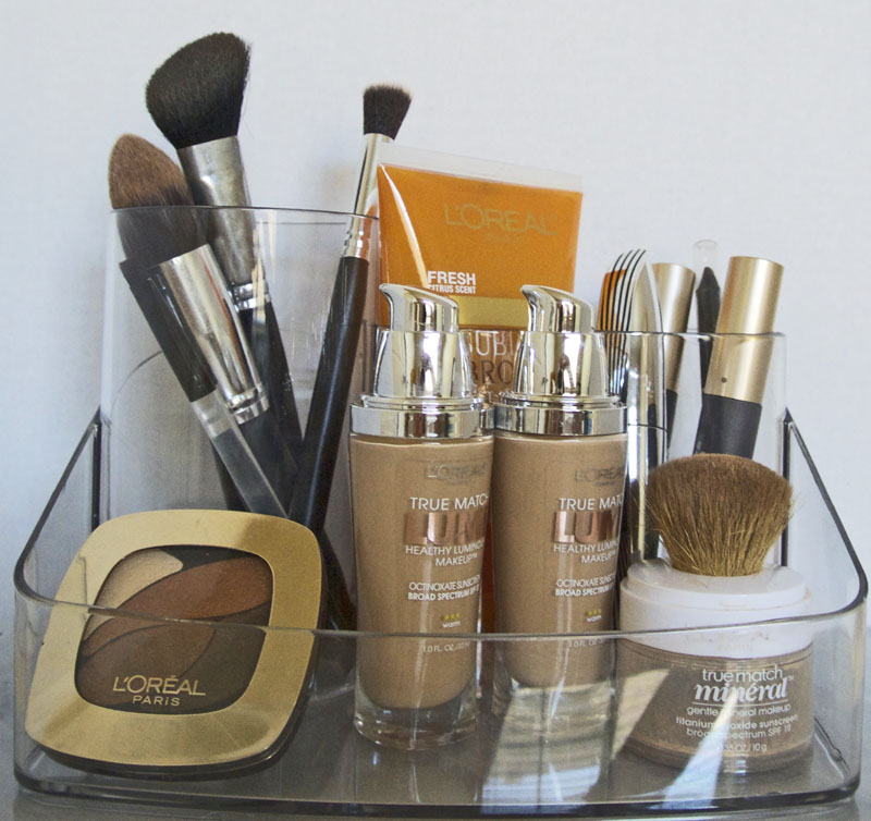 Great way to organize your makeup.  Everything is visible, so no digging, but still in compartments. #shop