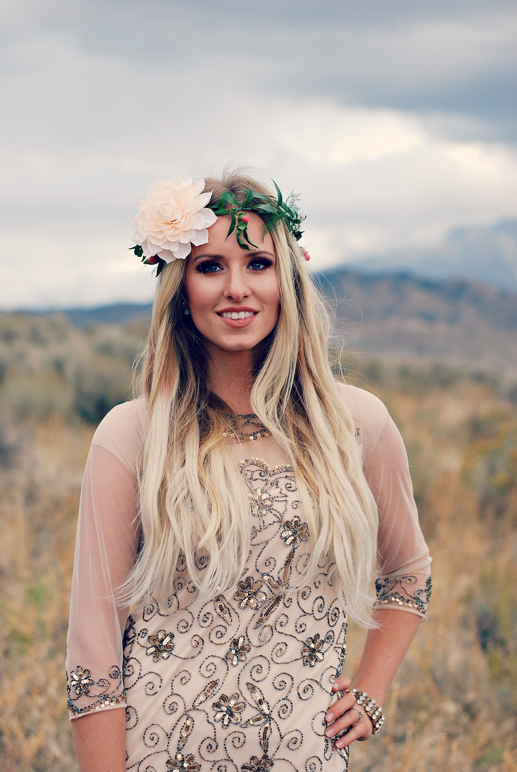 Formal Boho Chic dress and floral crown