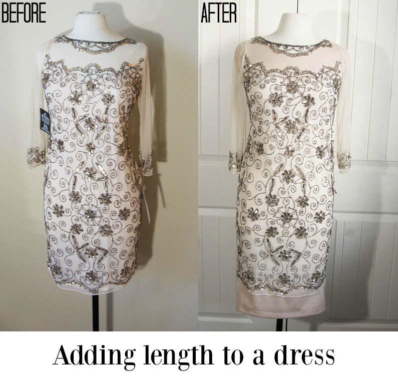 Adding length to a dress in a way that blends with the dress.