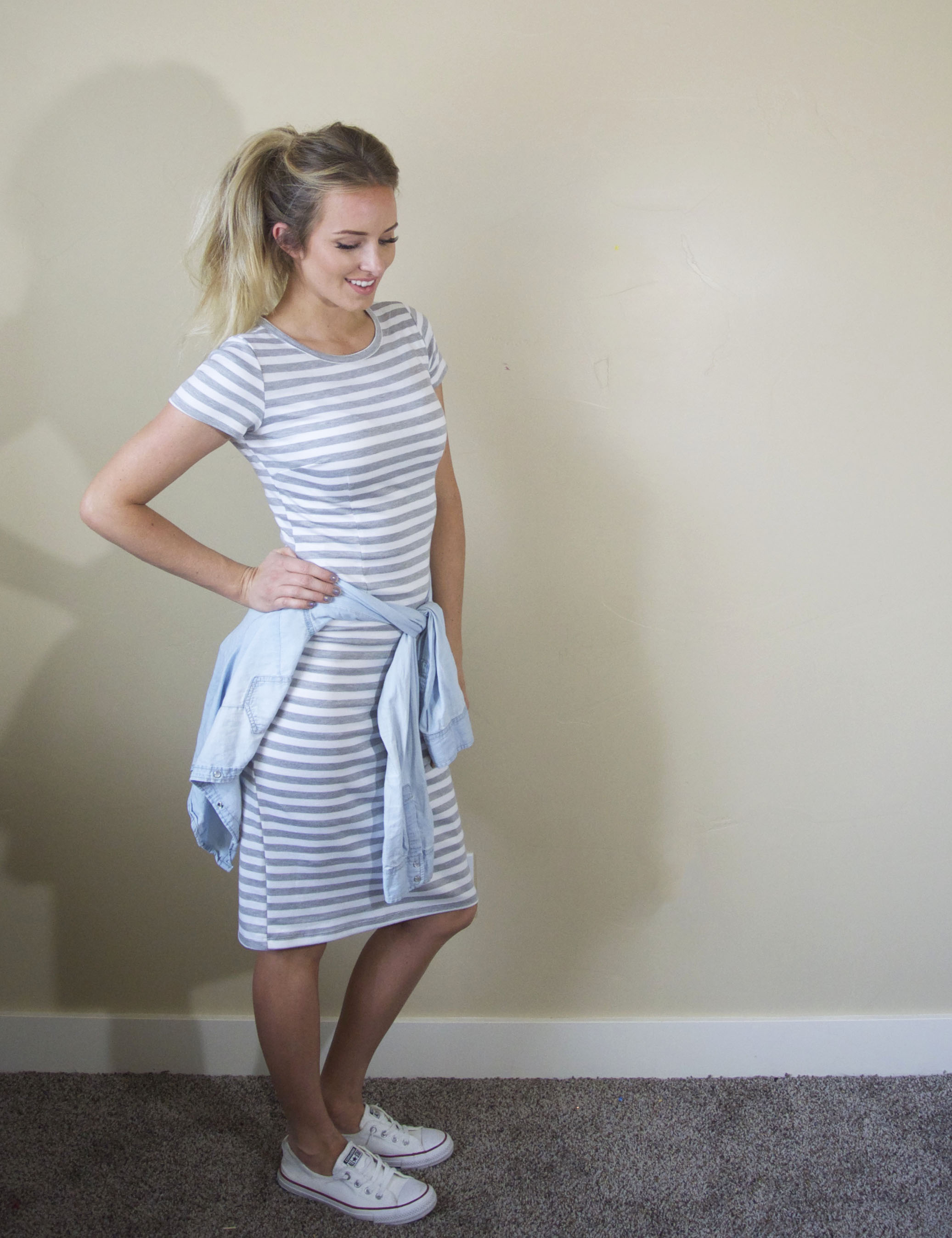 Casual dress with converse