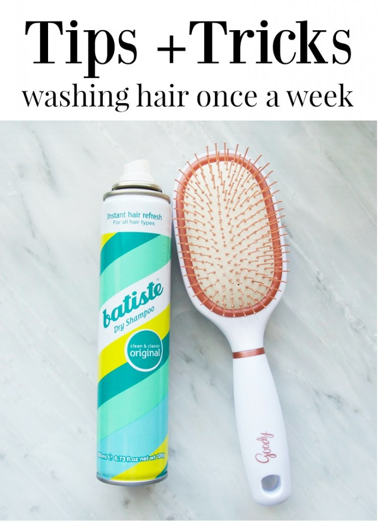 Tips and Tricks for Washing Hair Once a Week featured by top US lifestyle blogger, Kara Metta | Great advice for how to get away wish washing your hair once a weeks. Saves so much time and money because you won't go through your shampoo and conditioner as fast.