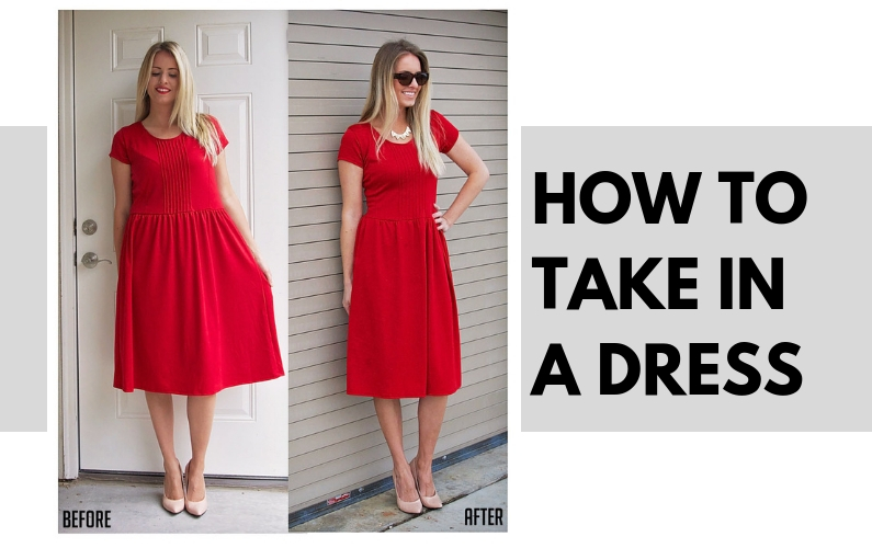 How to Take in a Dress, a sewing tutorial featured by top US sewing blogger, Kara Metta   How to take in a knit dress with steps and photos.