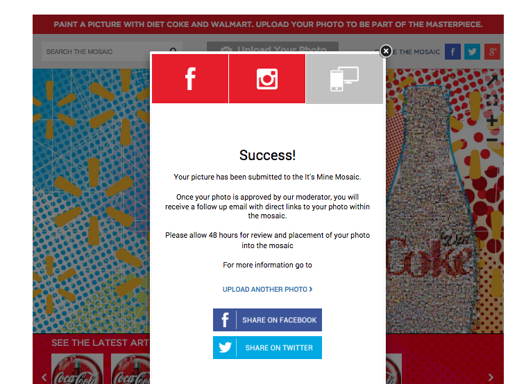 How to upload to the Diet Coke My Masterpiece Mosaic #itsmymasterpiece #ad