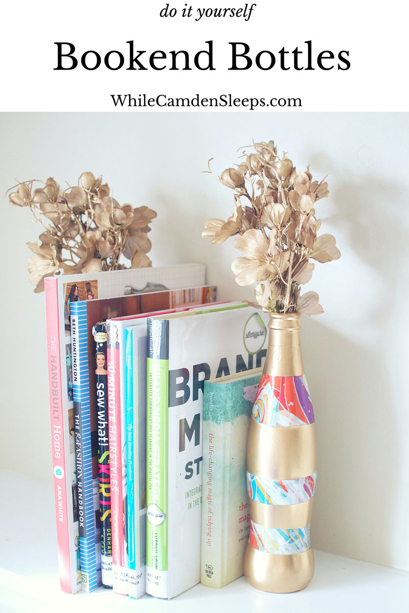 DIY Modern and Eclectic Bookend Bottles using NEW Diet Coke IT'S MINE bottles #itsmymasterpiece #ad