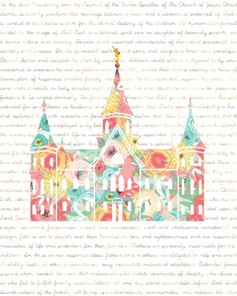 Free Temple Printable!  This is the Provo City Center Temple in Blush Floral with  The Family  Proclamation in the background.