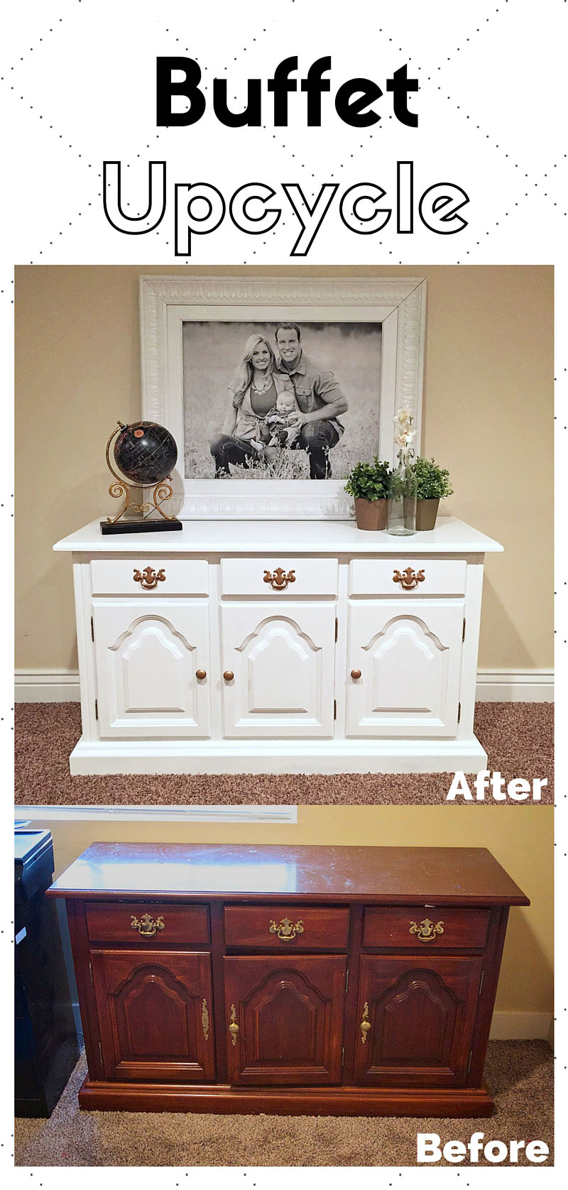 Love this buffet / dresser upcycle | Upcycled Buffet by popular Utah lifestyle blogger, Kara Metta: before and after image of a white upcycled buffet.