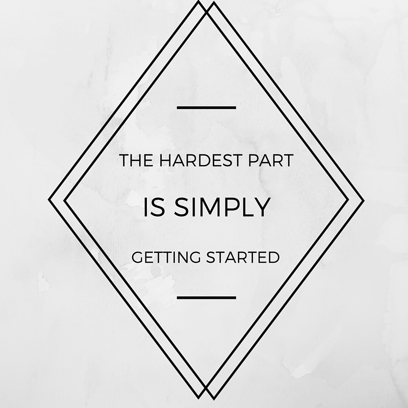 """The hardest part of any project is, seriously, getting started.   Upcycled Buffet by popular Utah lifestyle blogger, Kara Metta: printable quote saying, """"The hardest part is simply getting started.""""."""