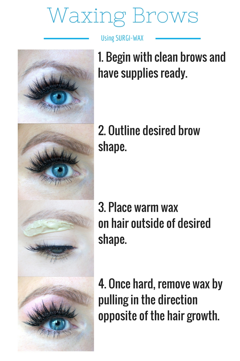 How to wax your own eyebrows | How to Wax Your Eyebrows at Home by Popular Utah beauty blogger, Kara Metta: digital image of a step by step eyebrow waxing tutorial using Surgi-Wax.