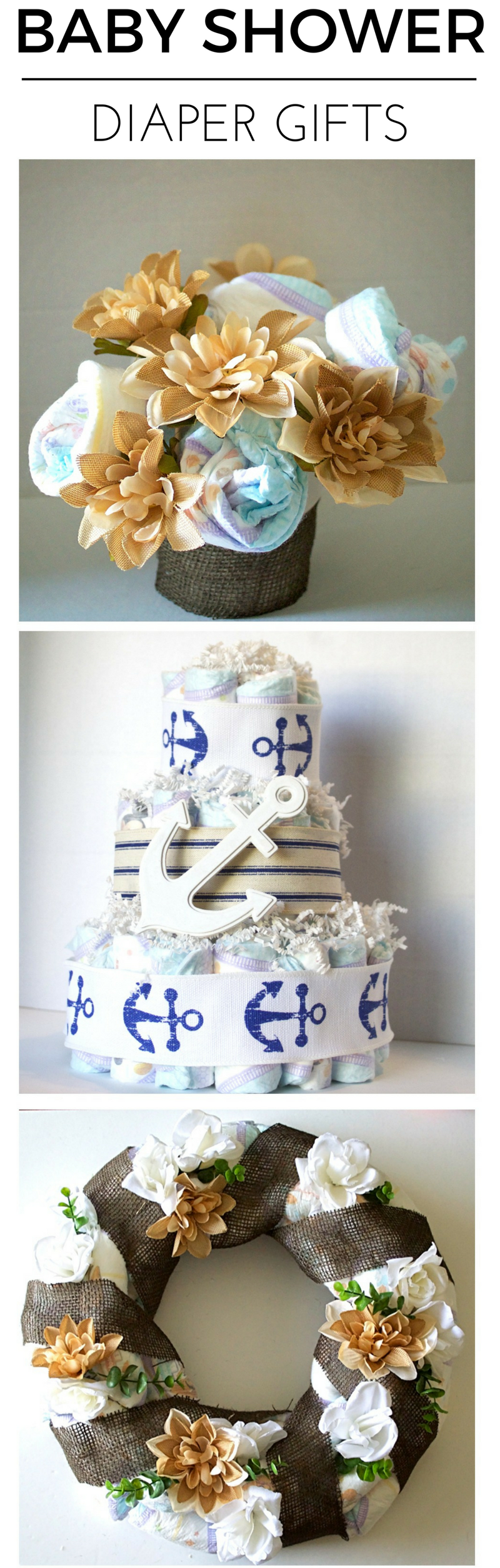 DIY Diaper baby shower gifts. #SuperAbsorbent #CollectiveBias #ad | Creative Things to Make With Diapers by popular Utah lifestyle blogger, Kara Metta: collage image of a diaper bouquet, diaper cake, and diaper wreath.