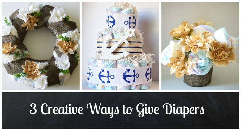 DIY Diaper baby shower gifts. #SuperAbsorbent #CollectiveBias #ad | Creative Things to Make With Diapers by popular Utah lifestyle blogger, Kara Metta: collage image of a diaper wreath, diaper cake, and diaper bouquet.