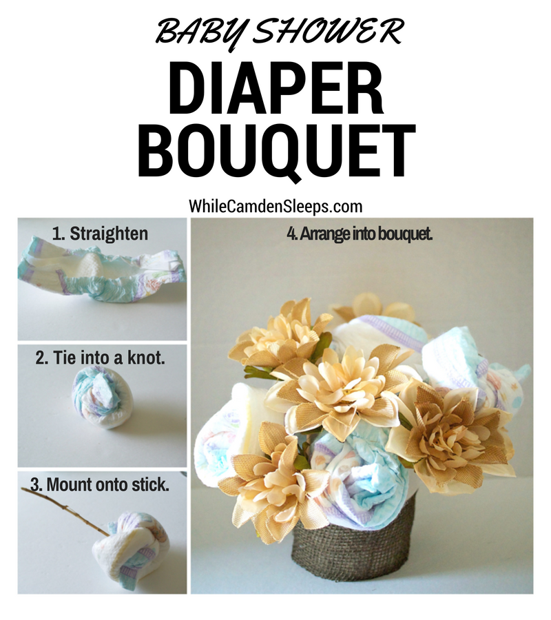 DIY Diaper baby shower gifts. #SuperAbsorbent #CollectiveBias #ad | Creative Things to Make With Diapers by popular Utah lifestyle blogger, Kara Metta: collage image of how to make a diaper bouquet.
