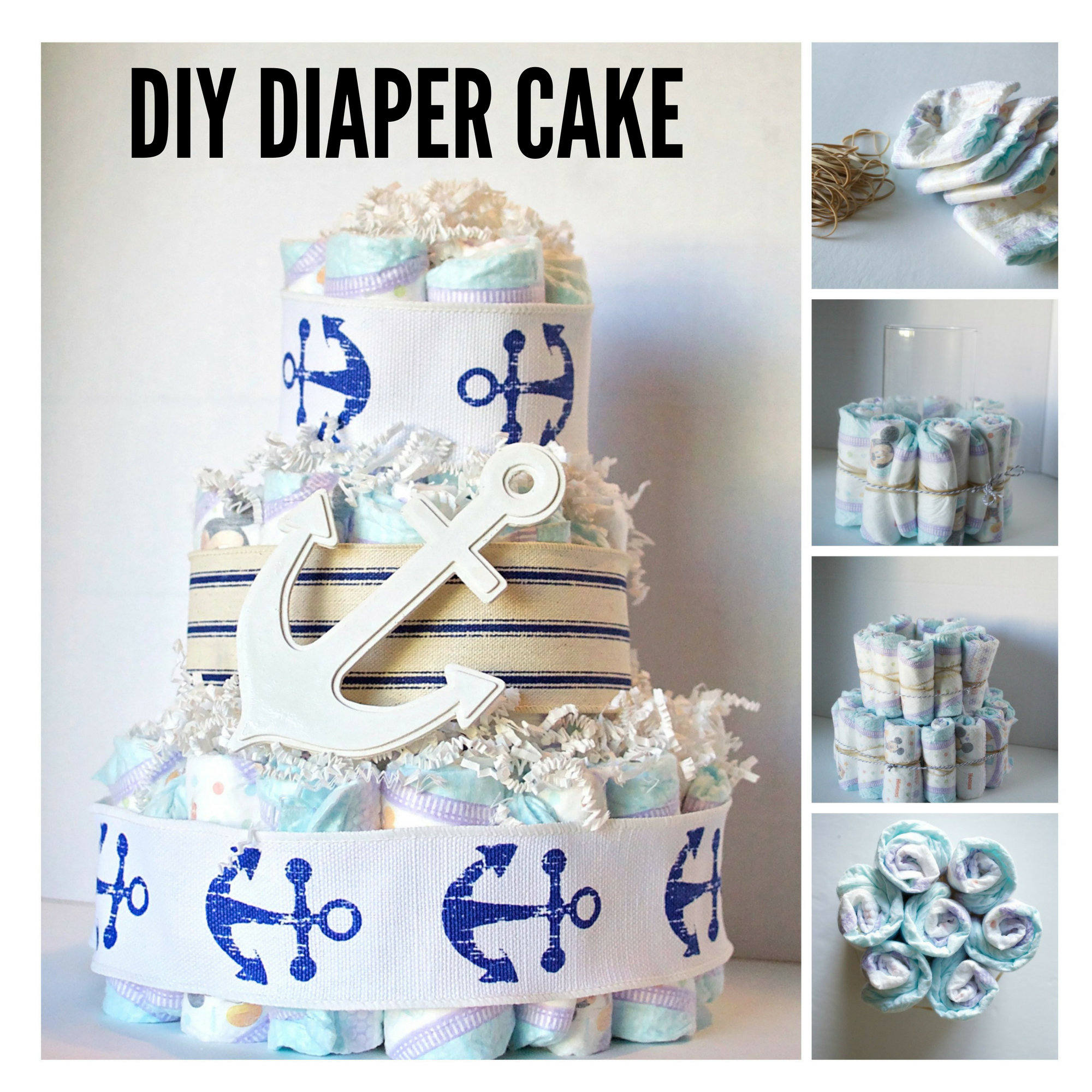 DIY Diaper baby shower gifts. #SuperAbsorbent #CollectiveBias #ad | Creative Things to Make With Diapers by popular Utah lifestyle blogger, Kara Metta: collage image of how to make a diaper cake.