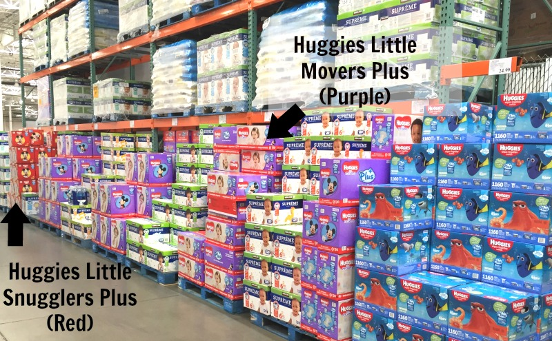 Using Huggies diapers for baby shower gifts. #SuperAbsorbent #CollectiveBias #Ad | Creative Things to Make With Diapers by popular Utah lifestyle blogger, Kara Metta: image of Huggies diapers in the Costco diaper section.