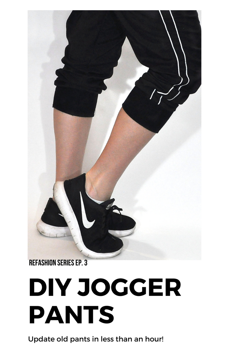 DIY Jogger Pants from old sweatpants. Can be done in under an hour! This page has a complete video tutorial. Refashion Series Ep. 3 | DIY Joggers Sweatpants by popular Utah sewing blogger, Kara Metta: image of a woman wearing black Nike running shoes and a pair of DIY joggers sweatpants.