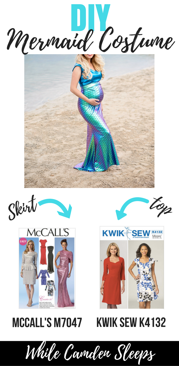DIY Modest Mermaid costume using supplies from JOANN | DIY Mermaid Costume by popular Utah sewing blogger, Kara Metta: image of a woman standing in the sand next to some water and wearing a mermaid costume made out of fabric from the Ya Ya Han collection at Joann's.
