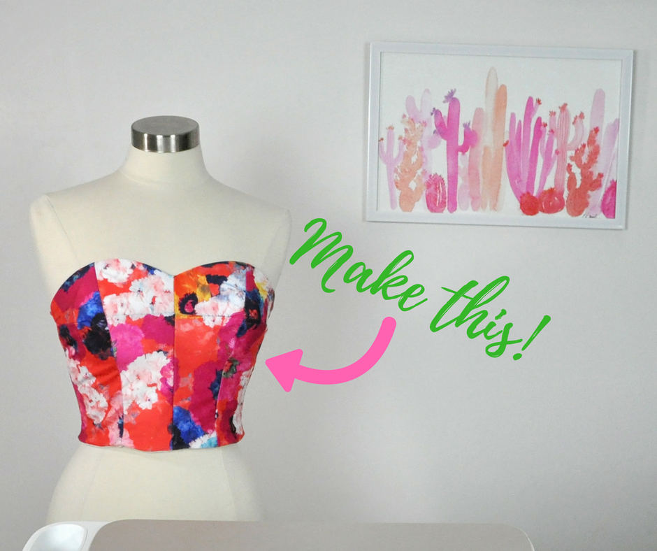 How to make a swimsuit top using the Cricut Maker and the Design Space Simplicity crop top pattern. #cricut #ad #cricutmade | DIY Swimsuit Top by popular Utah sewing blogger, Kara Metta: image of a DIY sweetheart swimsuit top.