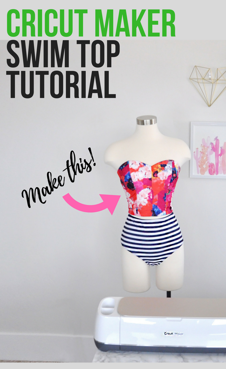 How to make a swimsuit top using the Cricut Maker and the Design Space Simplicity crop top pattern. #cricut #ad #cricutmade | DIY Swimsuit Top by popular Utah sewing blogger, Kara Metta: Pinterest image of a DIY swimsuit top.