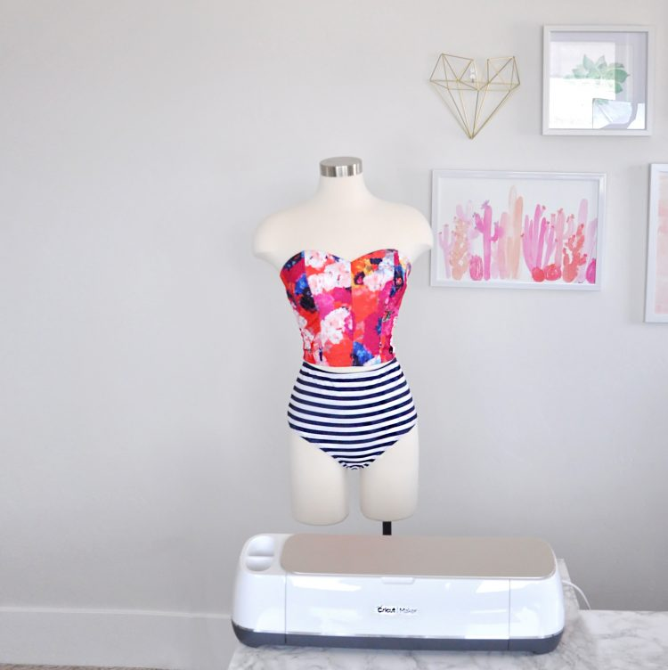 How to make a swimsuit top using the Cricut Maker and the Design Space Simplicity crop top pattern. #cricut #ad #cricutmade
