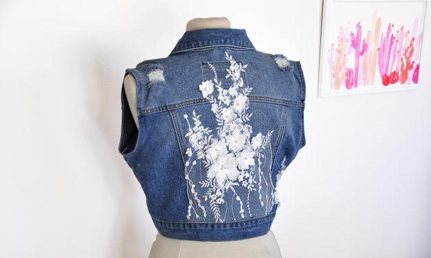 DIY Embellished Jean Vest