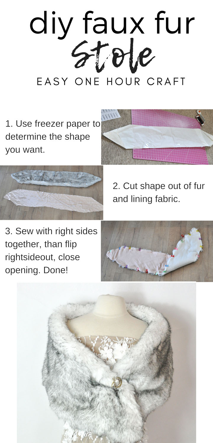 DIY faux fur wrap. Takes less than an hour and looks beautiful for winter weddings of vintage ensembles. #diyfashion | Faux Fur Stole Pattern by popular Utah sewing blog, Kara Metta: digital image of step by step instructions on how to sew a faux fur stole.