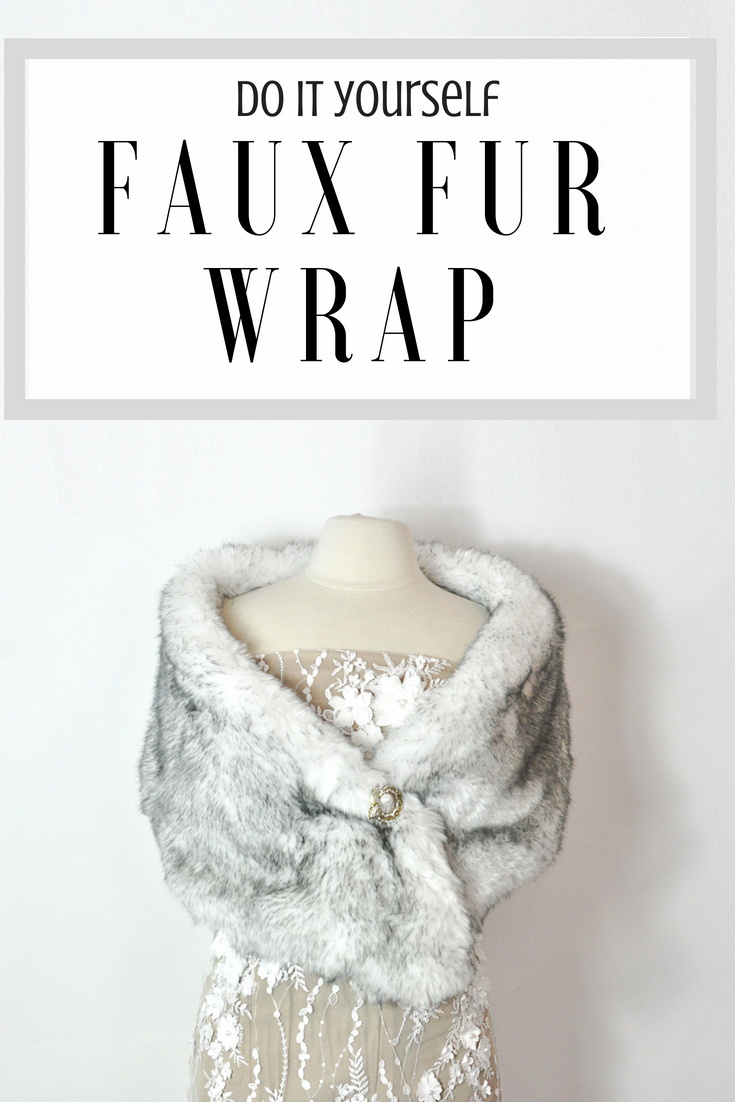 DIY faux fur wrap. Takes less than an hour and looks beautiful for winter weddings of vintage ensembles. #diyfashion | Faux Fur Stole Pattern by popular Utah sewing blog, Kara Metta: Pinterest image of a DIY faux fur stole.