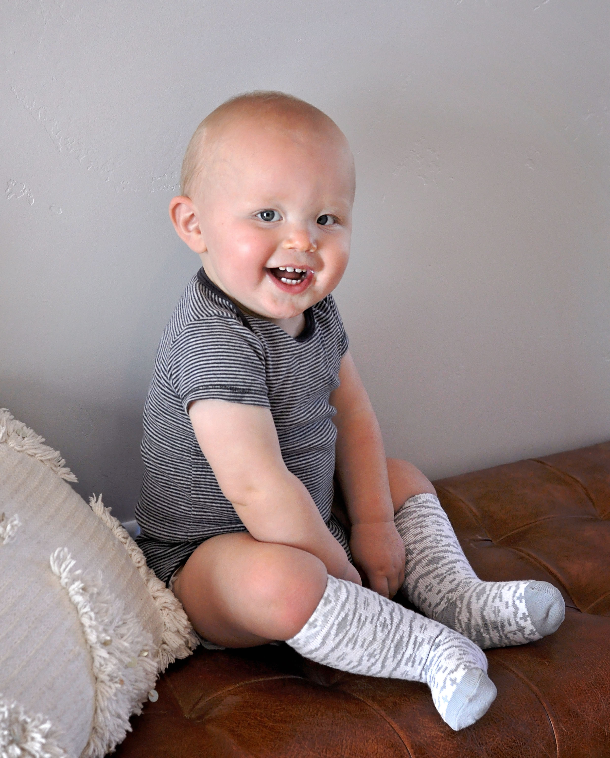 These are the best socks for babies because the length keeps them extra warm, and prevents them from being able to take them off!
