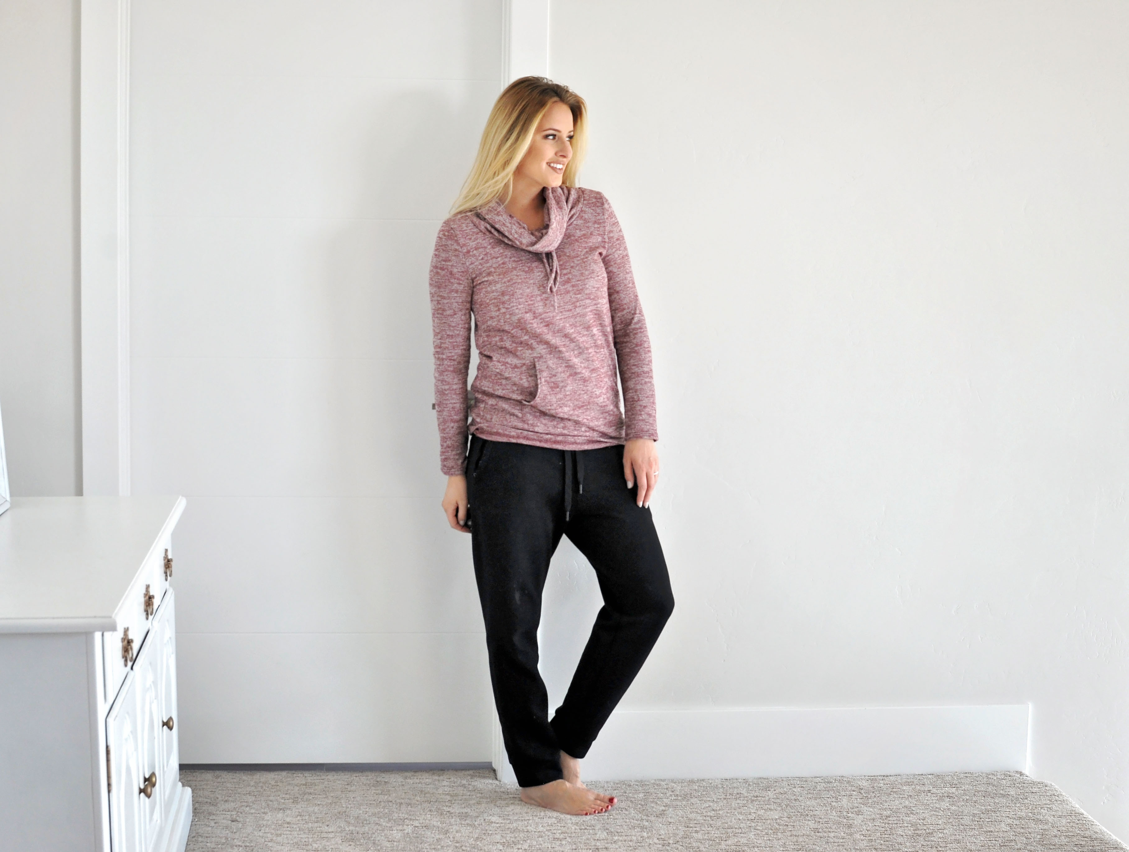 Love the neck of this top. This sweatshirt is on sale right now for 12.95. That's amazing.