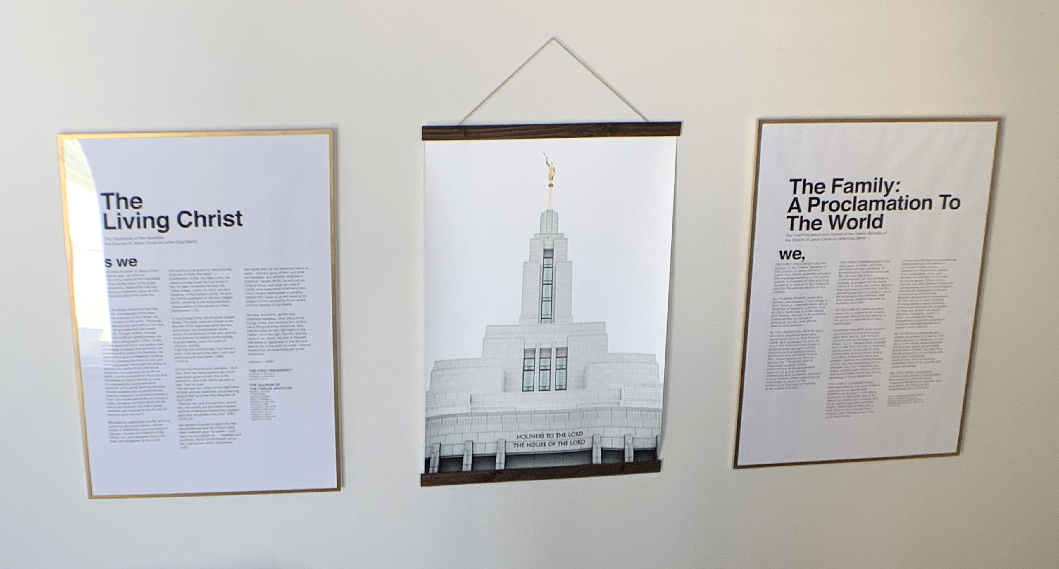 Modern, affordable LDS artwork. This whole set up of huge sizes, 24x36, was just $166 all in. There are tons of options for the temple prints as well. I think I'm in love.